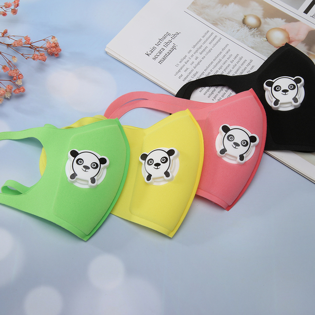 Motorcycle Mask Reuseable Double Filters Valve Anti-pollen Kid Print Breathable Cartoon Motorcycle Protection Mask