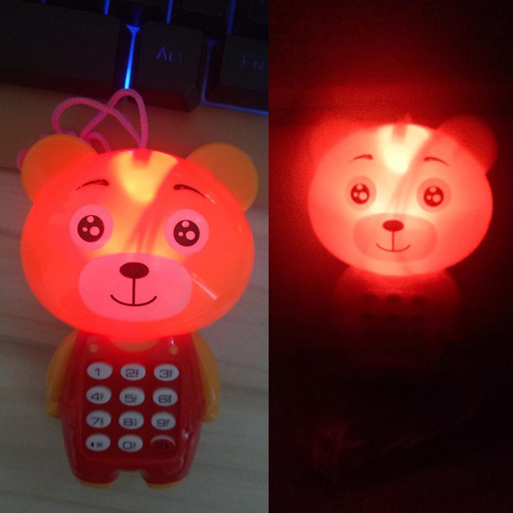 LED Electronic Toy Phone Musical Mini Cartoon Frog Animal Mobile Music Phone With Lanyard Educational Kids Baby Toys