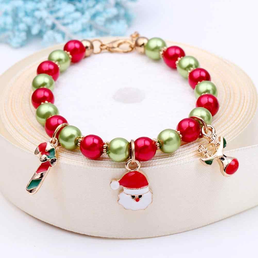 Boże narodzenie Unisex Santa Elk dynda zroszony urok bransoletka biżuteria ręczna Xmas prezent nowy