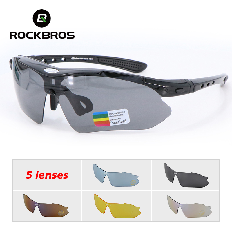 RockBros Polarized 5 Lenses Cycling Glasses With Myopia Frame Bike Eyewear Bicycle Glasses Sunglasses For Riding Sport Men Women
