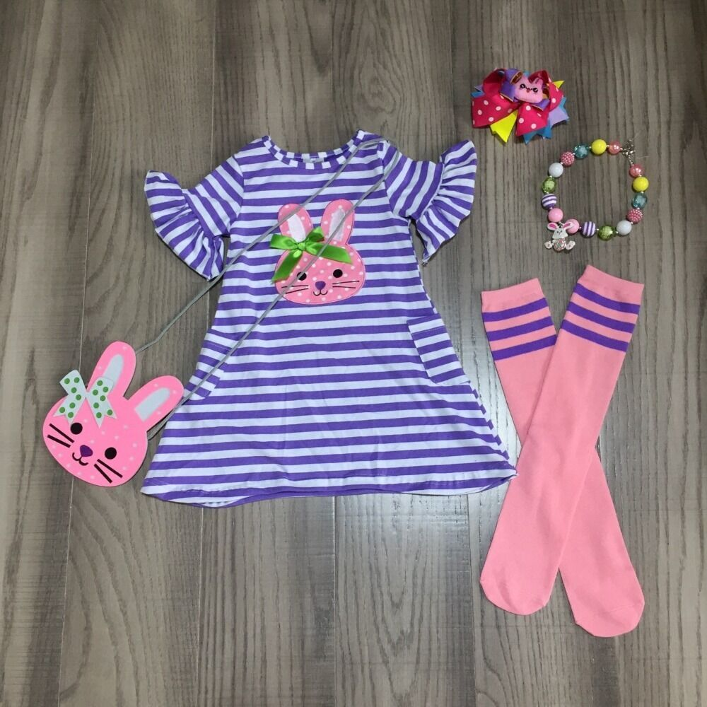 Baby Girls Easter Dress Outfits Girls Stripe Bunny Dress Matching Bunny Purse ,stocking  And Accessories