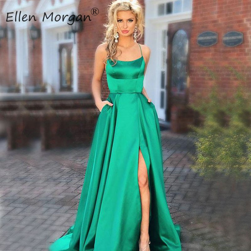 Saudi Arabian Simple Sexy Backless   Prom     Dresses   Long High Split Satin 2019 A Line Court Train African Black Girls Party Gowns