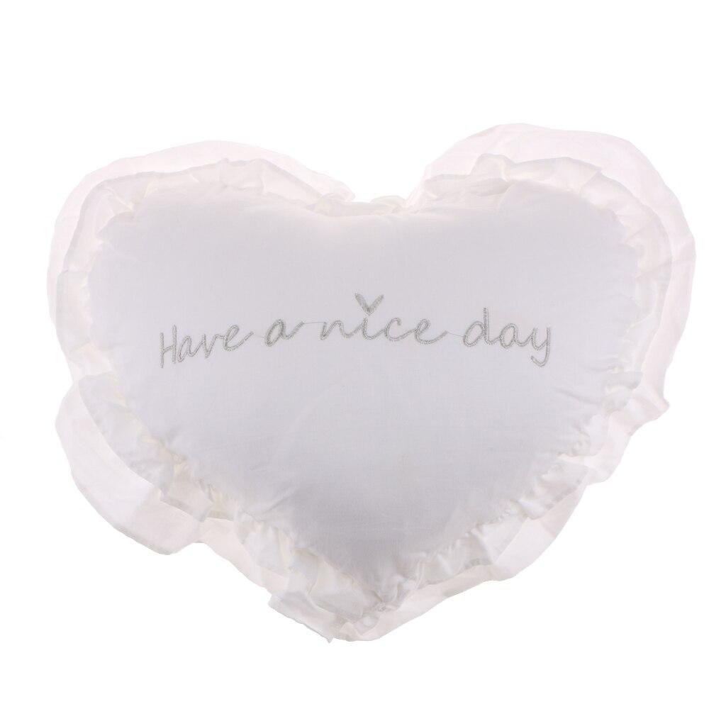 Хлопковая подушка в форме сердца, подушка для сидения, украшение дома, моющаяся, 40 см x 45 см - Цвет: White with silver c