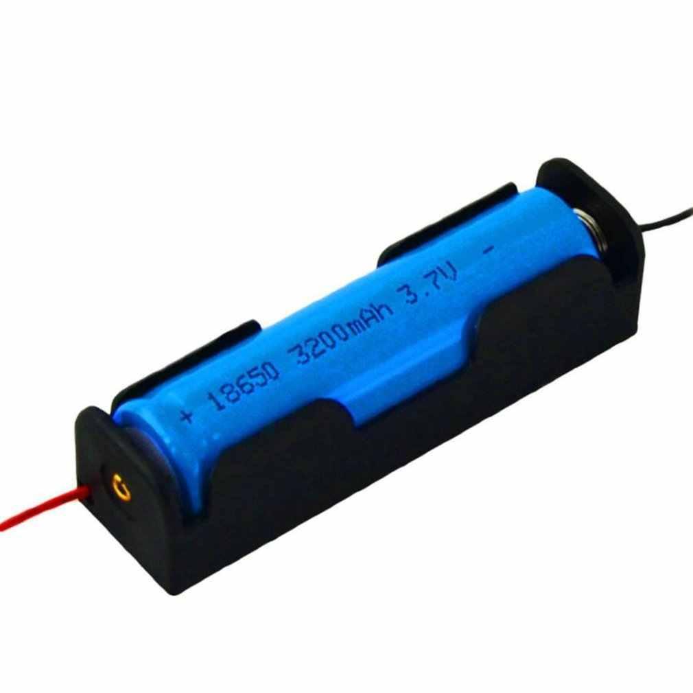 """Nouveauté 1pc flambant neuf en plastique dur porte-batterie boîte de rangement pour 1x18650 3.7V noir avec 6 """"fils fils"""