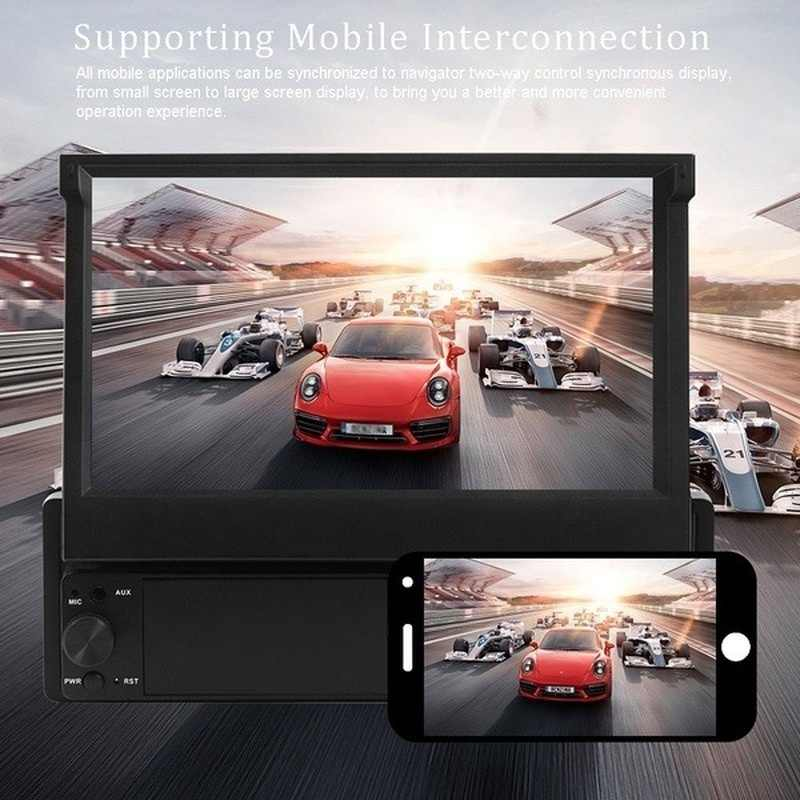 Rétractable Android 8.1 Autoradio GPS Wifi Autoradio 1 Din MP5 7 ''pouces HD écran tactile lecteur multimédia Support caméra