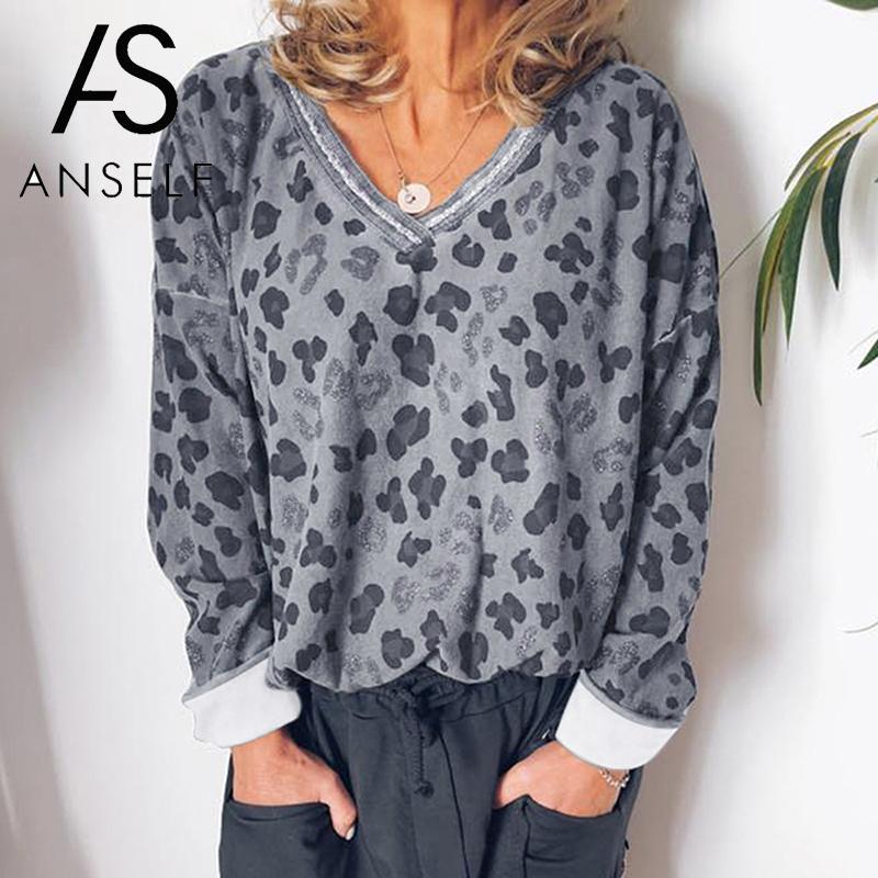 Womens Black Long Sleeve Shirt V Neck Leopard Pocket Casual Tee Tops