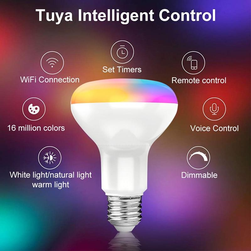 Умный светильник лампочка E27 Tuya Wi-Fi Светодиодная лампа RGB Цвет Изменение светодиодные лампы работать с Alexa Google Home приложение Smart Life голос Упра...