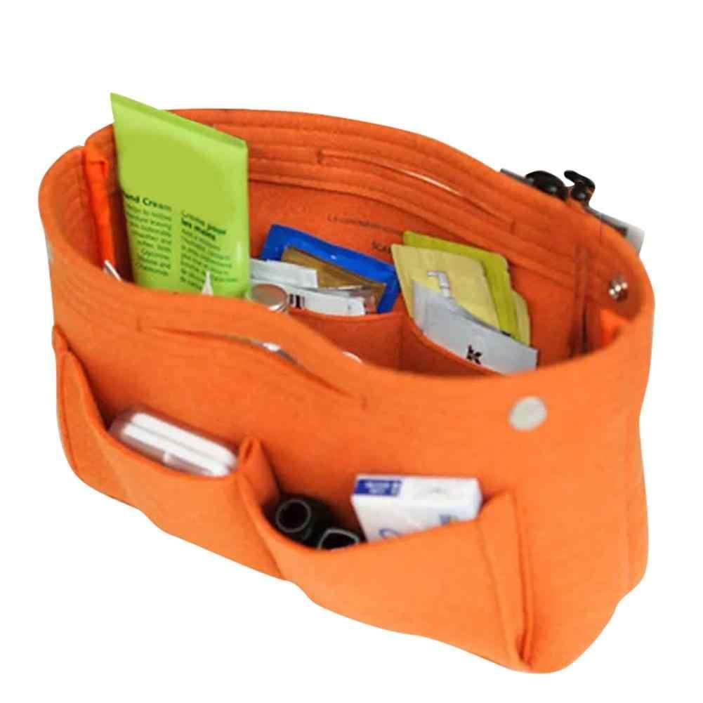 1Pc wielofunkcyjna tkanina filcowa wewnętrzna torba modna torebka multi-kieszenie przechowywanie kosmetyków organizery torby bagażowe akcesoria