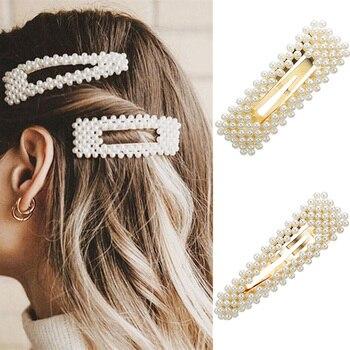 Korea Imitiation Pearl Flower Hairpins Vintage Long Barrettes Elegant Hair Clips Crystal Metal Accessories Hairgrip