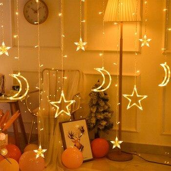 Ins 3,5 M 220V LED Luna estrella lámpara Navidad guirnalda cadena luces neón linterna Hada cortina luz para boda decoración de vacaciones
