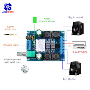 Image 3 - diymore TPA3116 D2 50Wx2 Dual Channel DC 4.5 27V Digital Power Amplifier Board 2 CH Stereo High Efficiency Reverse Protection