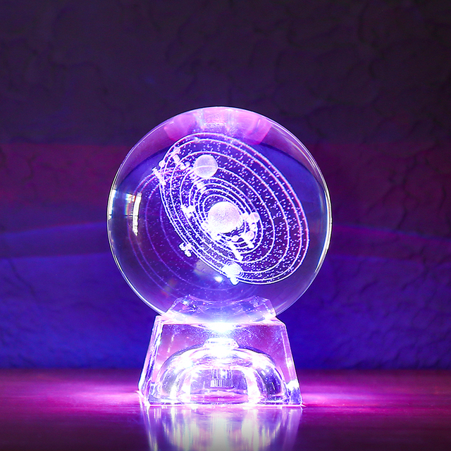 Solar System Miniatures Figurines 3D Planets Model Sphere Feng Shui Crystal Ball Desk Decoration Home Decor Gift for Holiday 5