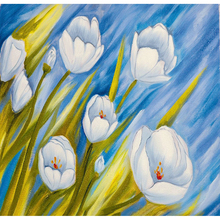 Diamant Schilderij Vol Vierkante Witte Bloem Tulp 5D DIY Foto Van Rhinestone Hobby Art Borduurwerk