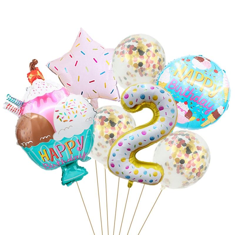 8 шт с утолщённой меховой опушкой, 32 дюйма конфеты номер Фольга воздушные шары 18 дюймов мороженое фруктовый гелиевые шары День рождения укра...