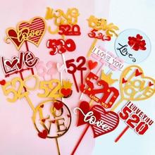 25PCS New Valentine's Day 520 Bake Cake Decoration Love Valentine's Day 520 Acrylic Cake Card Supplier Cake Topper