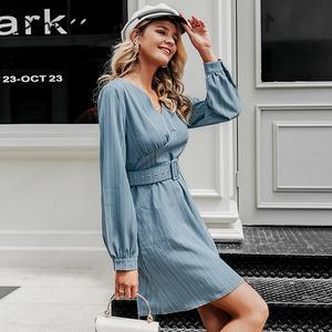 Image 4 - Simplee Sexy scollo a v a righe donne del vestito casual manica lunga cinghia di modo blu Una Linea di abito femminile Autunno inverno ufficio mini vestito