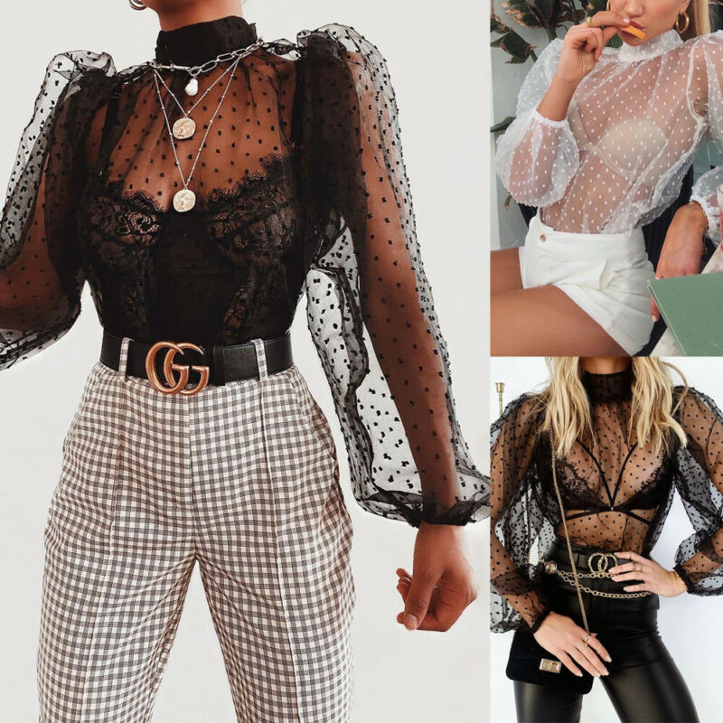 Women Mesh Sheer Polka Dot Print Long Sleeve Hollow Out Thin Lace Bottoming Shirt
