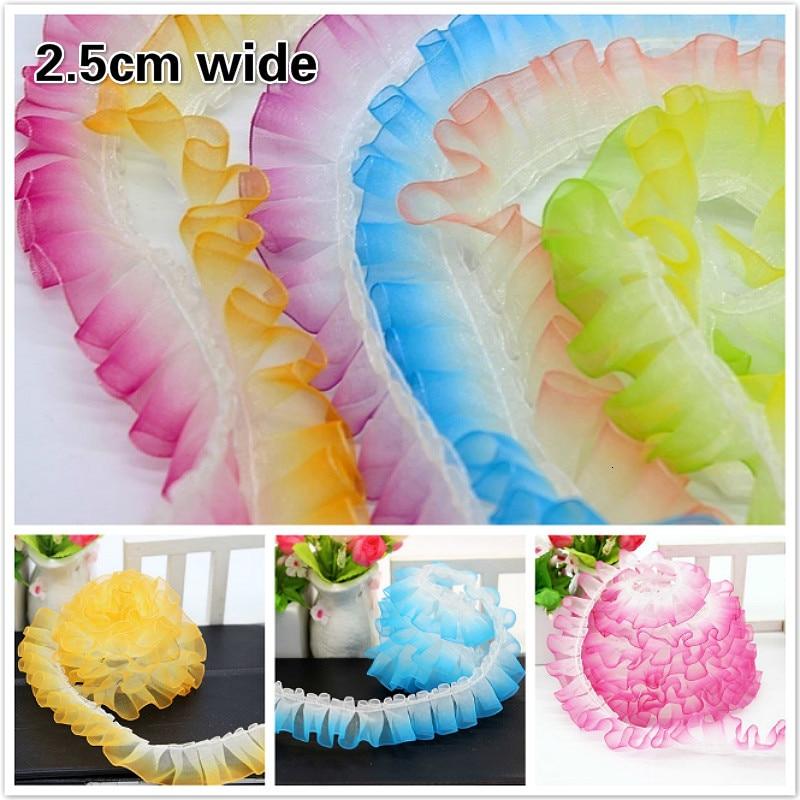 2.5cm Wide Organza Gradient Color Fine Lace Ribbon Handmade DIY Toy Craft Skirt Curtain Trim Pet Clothing Original Accessories