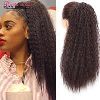 Doris Beauty Long Afro Kinky Curly Ponytail Extension 22 Inch Synthetic Drawstring Corn Hair Piece for Women Black Brown