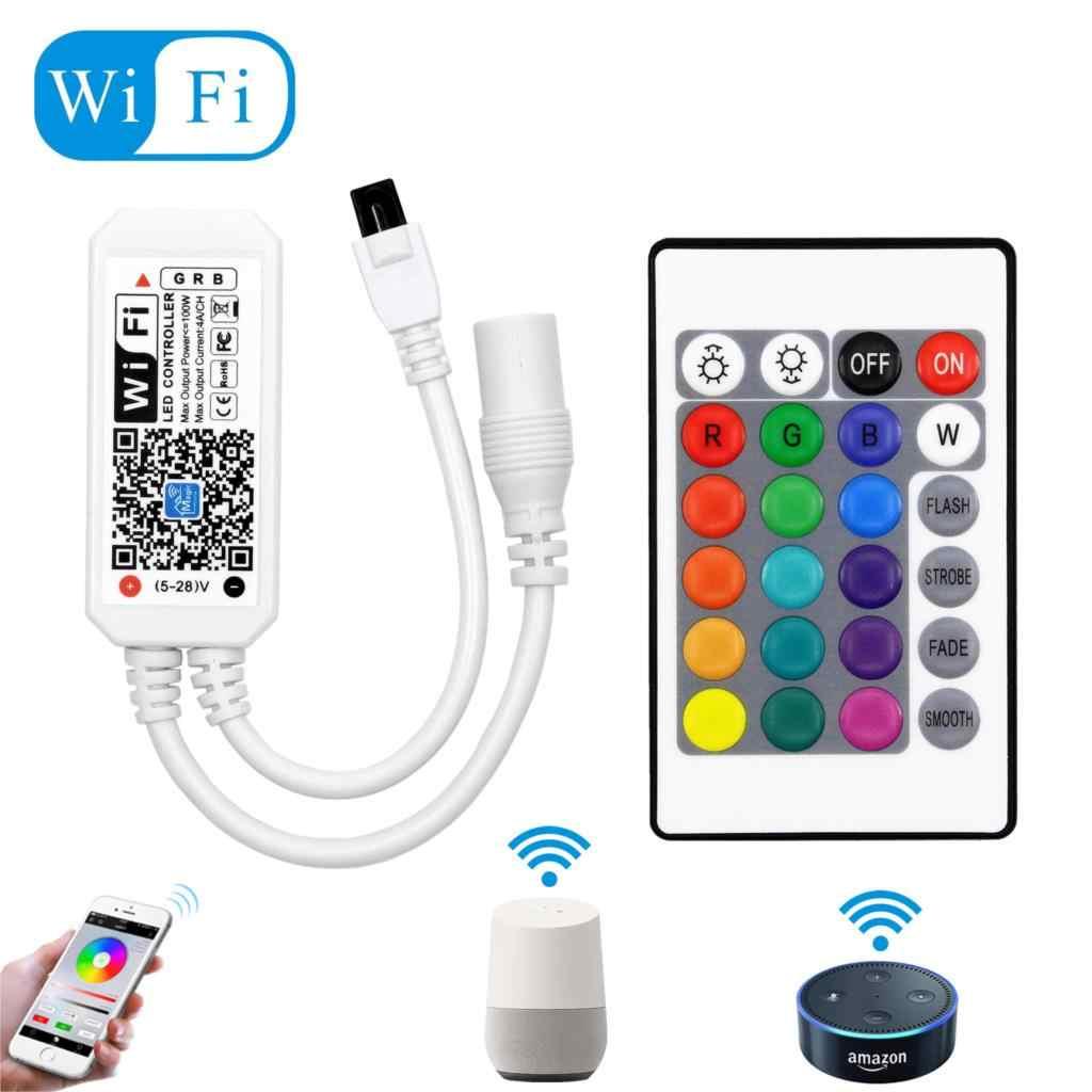 DC12-28V MINI contrôleur de musique de contrôleur de bande de WIFI rvb/RGBW par Amazon Alexa Google contrôleur de WIFI de téléphone à la maison pour la lumière de bande