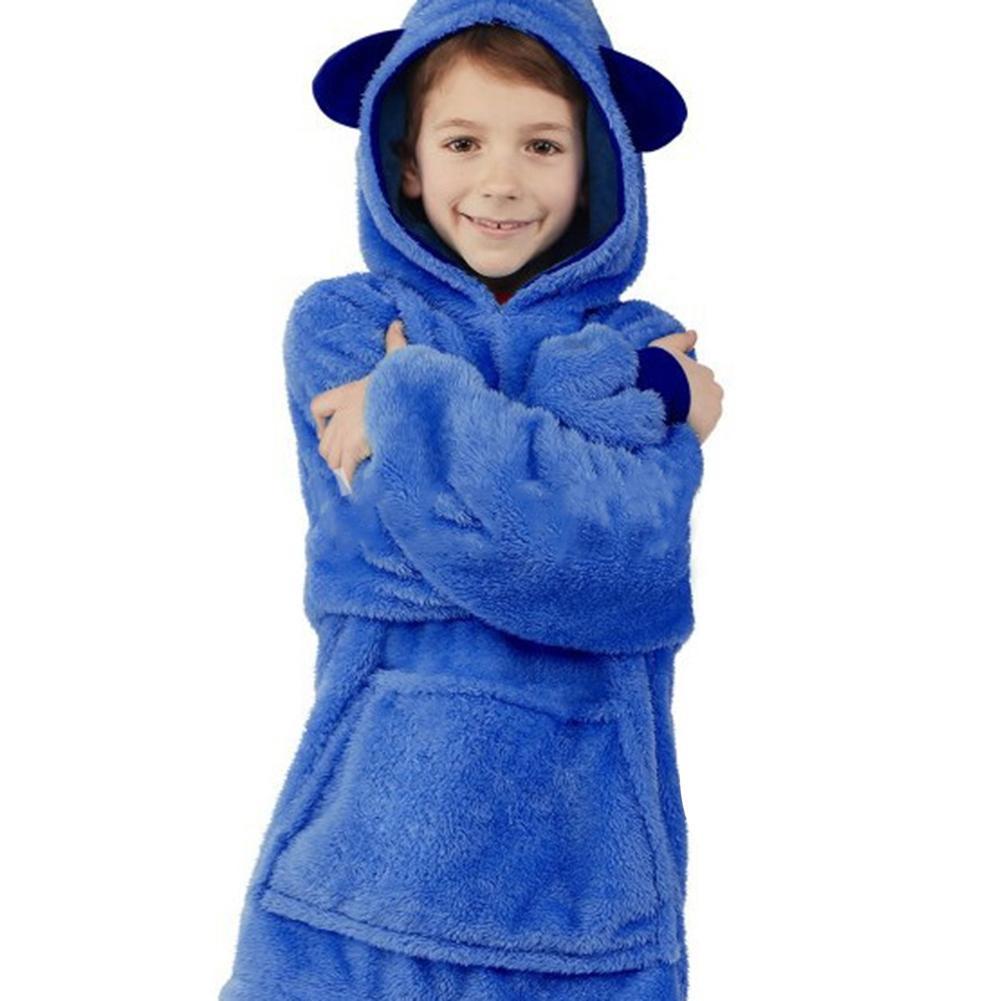 Children's Blanket Sweatshirt Pet Shaped Wearable Hoodie Nightdress Blanket Sweatshirt For 8 Years Old And Above Kids