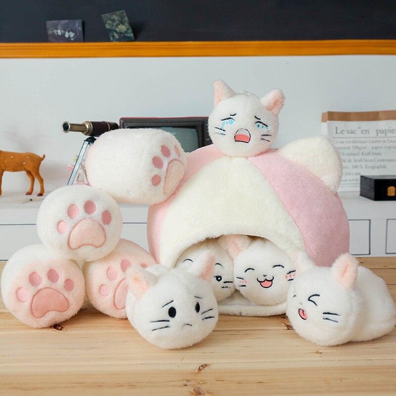Candice guo! Q peluche jouet belle bande dessinée chat maison expressions drôles chaton patte doux peluche poupée oreiller anniversaire cadeau de noël