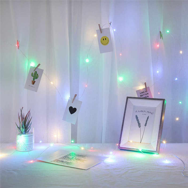 LED String Lights 2M/5M/10M Photo Clip  Fairy Lights Outdoor Battery Operated Garland Christmas Decoration Party Wedding Xmas