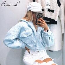 Simenual rahat Faux Lambswool polar ceketler kadın sonbahar kış sıcak moda mont uzun kollu Casual cep düğmesi giyim