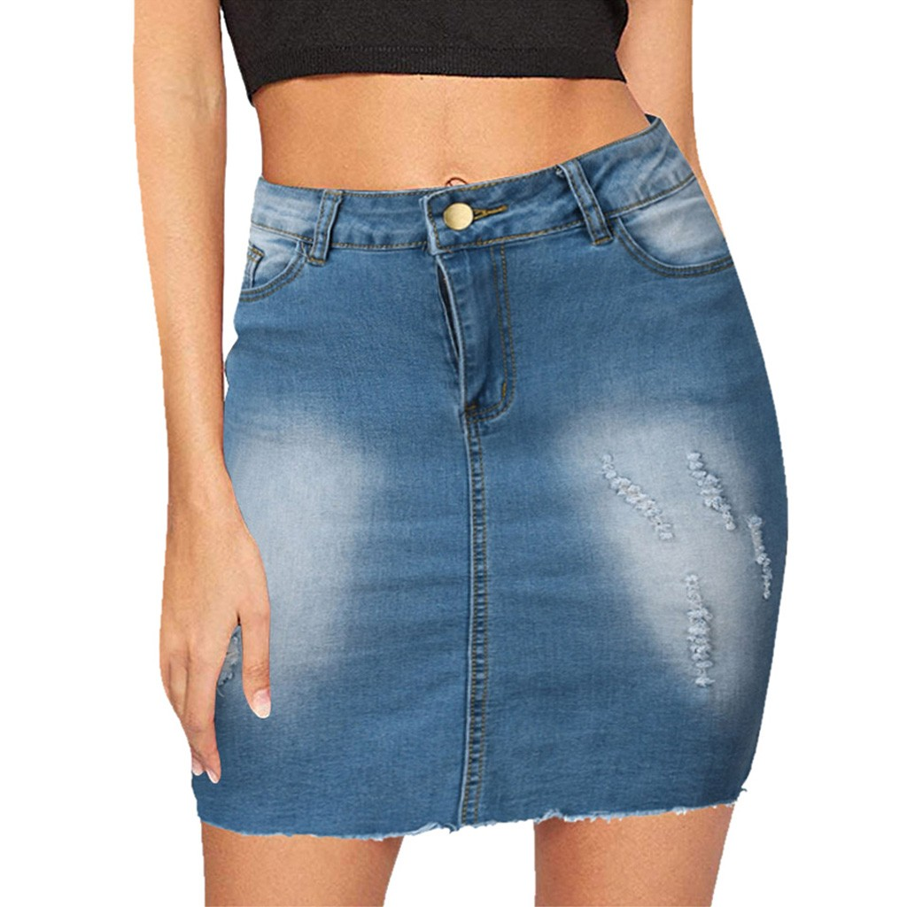 Denim Mini Skirts Women's High Waist Blue Skirt Zipper Buttons Leisure Short Skirts Summer Spring Pencil Skirt##5