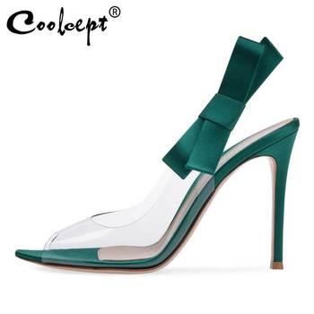 Coolcept Women Sandals Shoes Sweet Bowknot Fashion Thin High Heels Shoes Women Slingbacks Easy Match Fancy Footwear Size 34-45