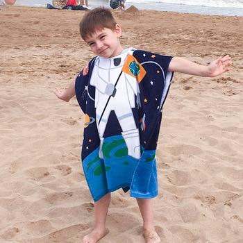 Kids Poncho Towels Hooded Bathrobe for Girls Boys Quick Dry Cotton Beach Towel Cartoon Children Bath Towel Baby Swimming Towel 4