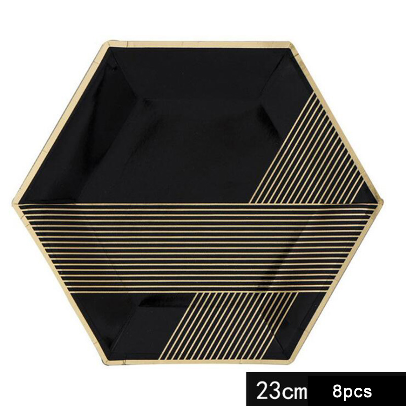 AVEBIEN 44pcs lot New High end Black Hot Stamping Paper Plate Disposable Party Tableware Set Cup Paper towel Plate Simple Europe in Disposable Party Tableware from Home Garden