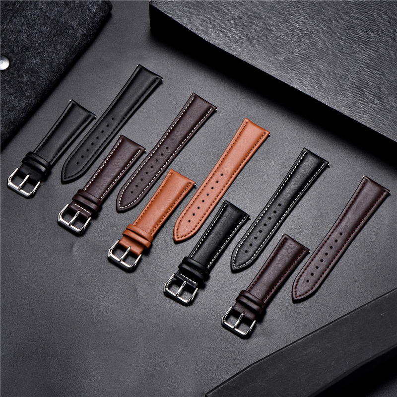 Quality Business Strap Soft Genuine Leather Watchband Surface Calfskin Men Women Replace Watch Band 18mm 20mm 22mm 24mm