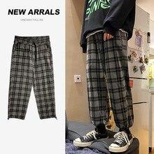 Plaid Pants Checked Trousers Bottoms Oversize Drawstring Wide-Leg Vintage Plus-Size Fashion