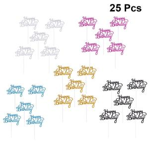 25 pcs Cake Toppers Happy Birthday Glittering Cake Picks Party Supplies Cupcake Decor Birthday Baby Shower Glitter Cake Toppers