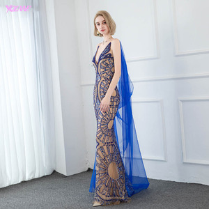 Image 4 - YQLNNE Couture Luxury Blue Crystals Evening Dress Sexy V Neck Nude Lining Evening Gowns Sleeveless Mermaid Dresses With Shawl