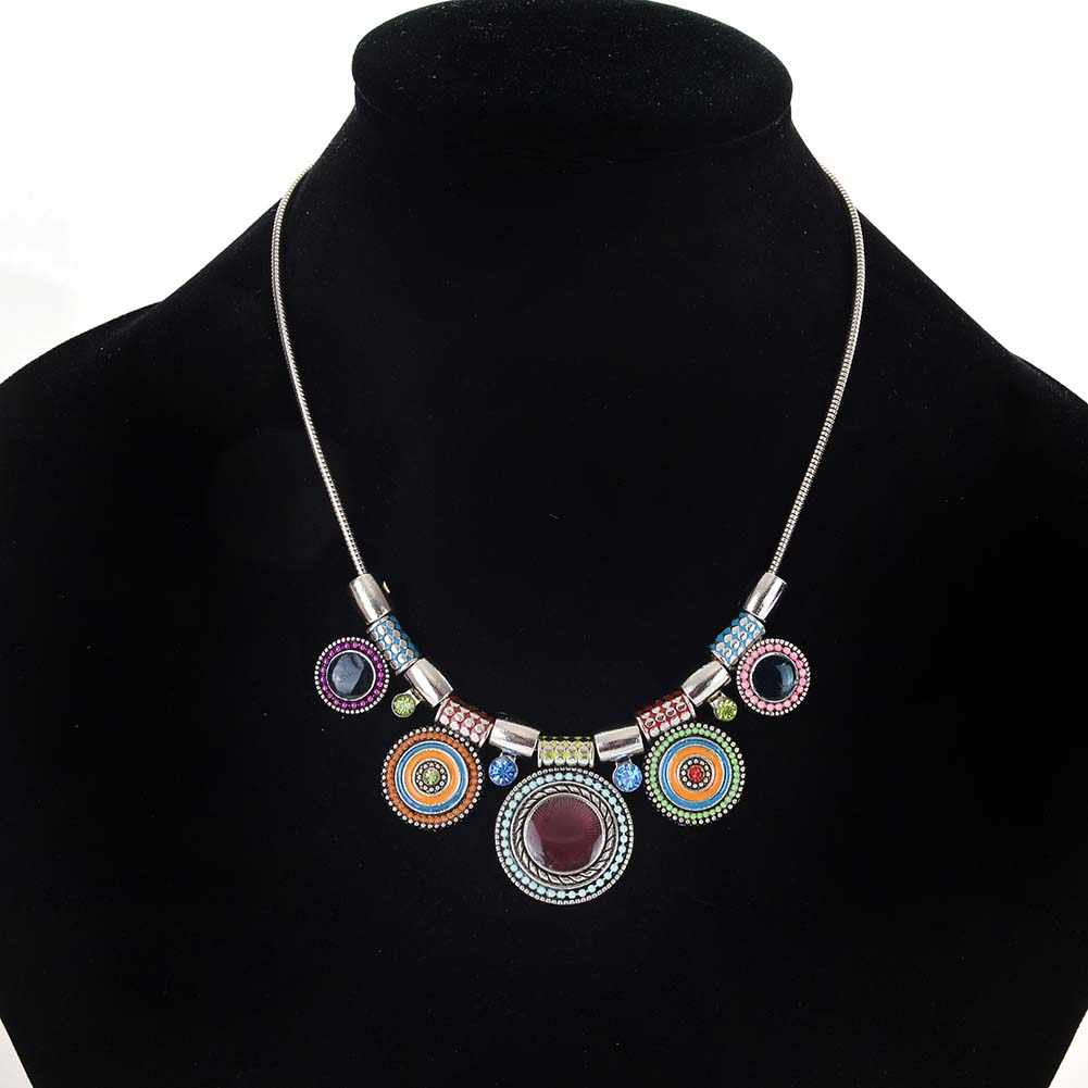 Ethnic Shining Women Rhinestone Inlaid Round Enamel Pendant Statement Bib Necklace Gift