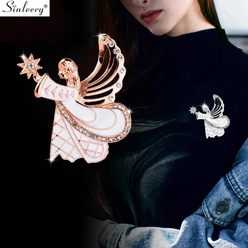 SINLEERY Unique White Enamel Angel Wing Girl Brooch Pins Fashion Women Lapel Pin Jewelry Coat Accessories Gifts XZ070 SSD