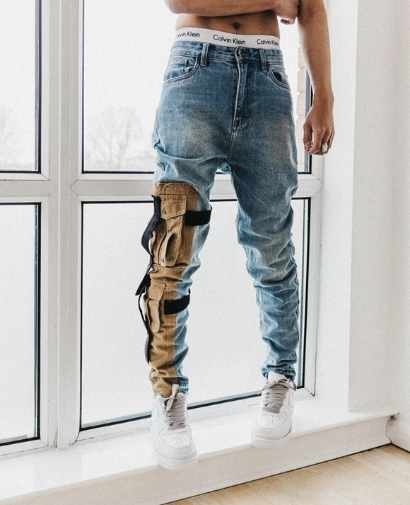 2019New  Disassembles Tooling Pockets To Make Old VALKRISTOPHER  Elastic Tactical Jeans Slim Fit Jeans For Men
