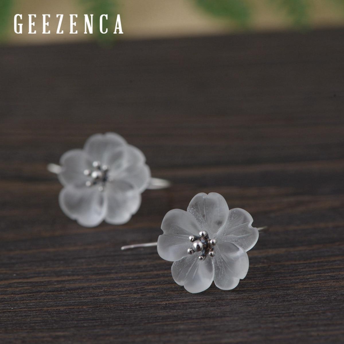 Minimalism 925 Sterling Silver Crystal Flower Stud Earrings Fine Jewelry For Women Trendy Simple Plum Blossom Women's Earring