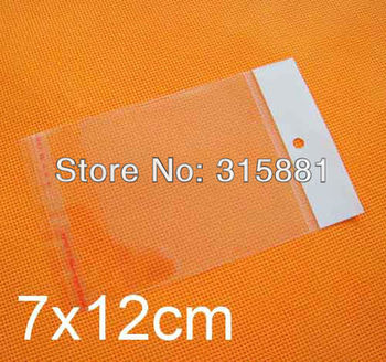 7x12cm hanging hole poly bags,Opp bags, 1000pcs/lot