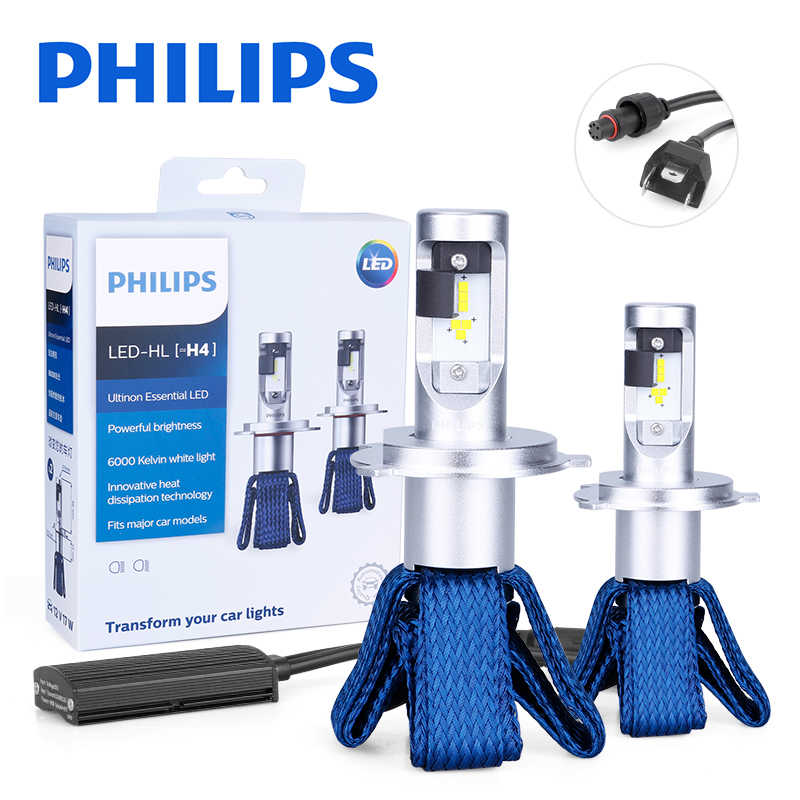 Philips H4 LED 9003 HB2 diode lamps for cars running Lights High Low Beam Ultinon Essential 6000K White Auto Headlight 2PCS 12V