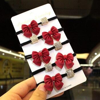 Fashion Red Bow Zircon Cube Elastic Hair Rope Women Geometry Scrunchies Girl Ties Korean Sweet Accessories Headwear