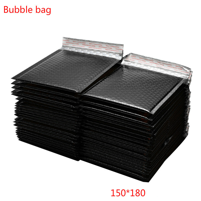 10/20/30/50pcs /Lot Bright Black Paper Bubble Padded Mailers Envelopes Gift Bag 150x180mm Envelope Bag Packaging Shipping Bags