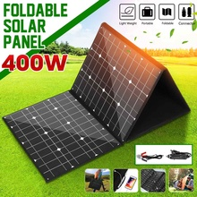 18V 400W Monocrystallinel Solar Panel Folding Package with 1.5m Cables +USB Interface Set Controller for Outdoor Working