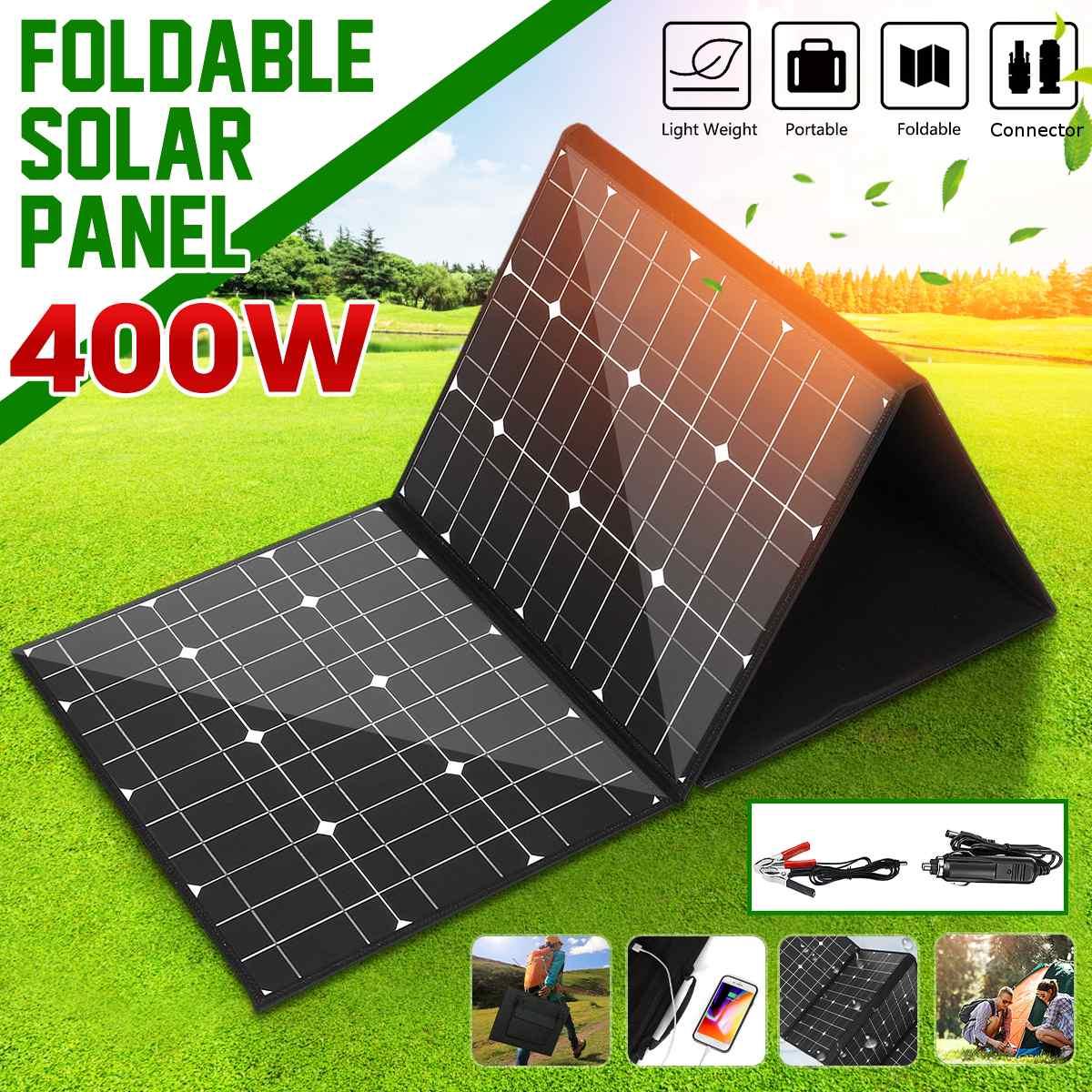 18v 400w monocrystallinel painel solar dobravel pacote com cabos de 1 5m interface usb conjunto controlador