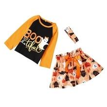2019 new Halloween baby girls clothes set long sleeve print tops+floral skirt Autumn winter cute cotton toddler
