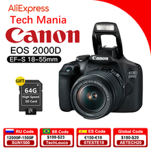 Canon EOS 2000D (Rebel T7) lustrzanka cyfrowa z EF S 18 55mm f/3.5 5.6 DC III obiektyw
