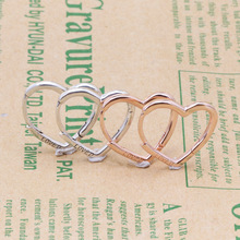 Original 925 Sterling Silver Earring Rose Gold Asymmetric Hearts Of Love Earrings For Women Wedding Gift Fashion Jewelry pair of stunning rose wedding earrings jewelry for women