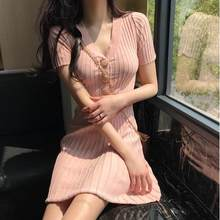 2020 Summer Vintage Pink Knitted Dresses Short Sleeve O-neck Slim Women Vestido Sexy V-Neck Elegant Female Dress LJ832(China)
